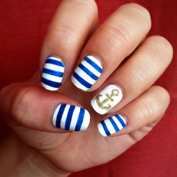 Gold Glitter Anchor Nails.