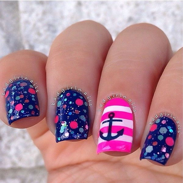 Nautical Anchor Nail Design with Pink Stripes - 50 Cool Anchor Nail Art Designs