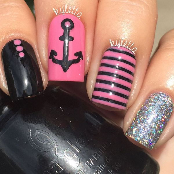 Pink and Black Nautical Nails With Silver Glitter and Anchor.