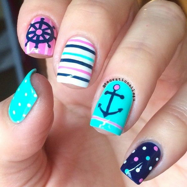 Charming Nautical Anchor Manicure Design. - 50 Cool Anchor Nail Art Designs