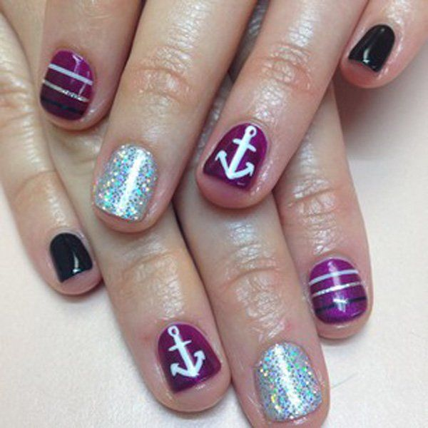 Purple and Glitter Nails with Anchors Accented.