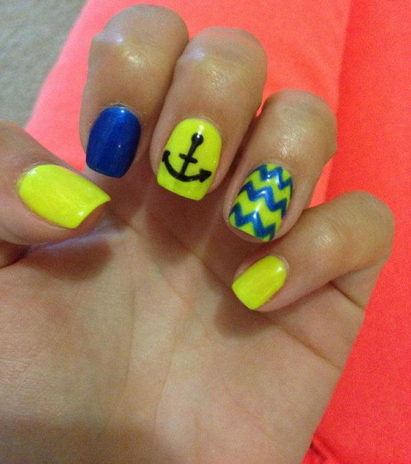 Blue and Yellow Anchor Nails.