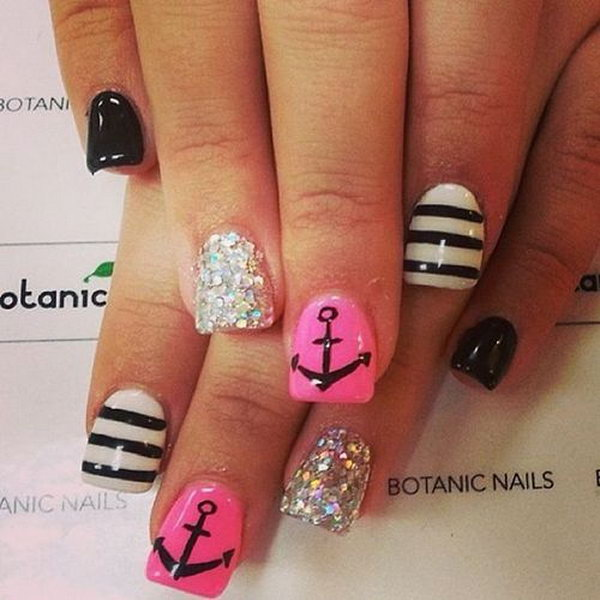 Pink and Black Nautical Nail Design Accented with Anchors - 50 Cool Anchor Nail Art Designs