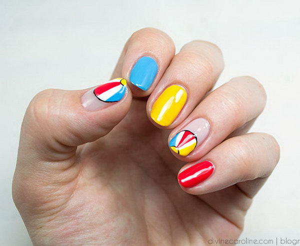 Beach Ball Mani - 30+ Beach Themed Nail Art Designs