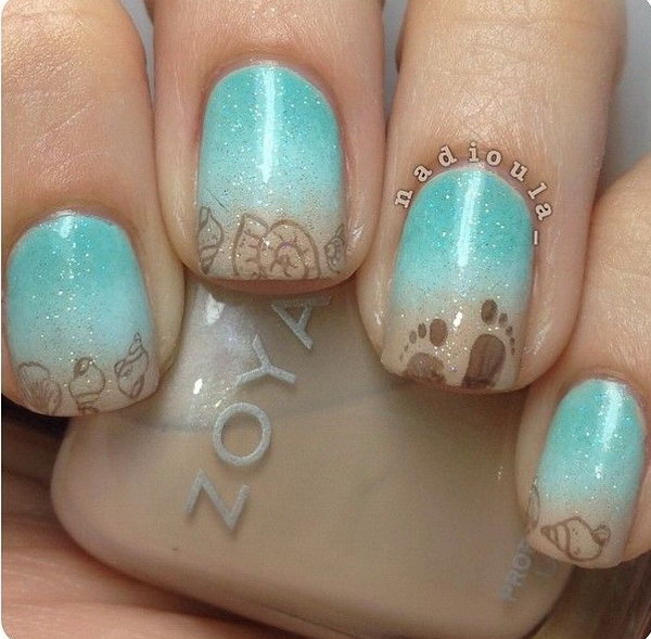 Sea Side Nail Art.