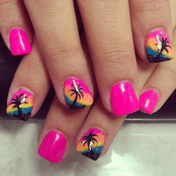 Rainbow Beach Nails with Palm Trees.