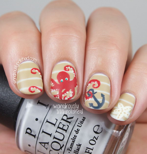 30 beach themed nail art designs classic stripes and anchor beach nails with octopus prinsesfo Image collections