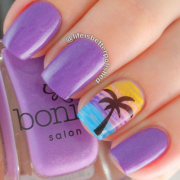 Purple Beach Nail Art Design.