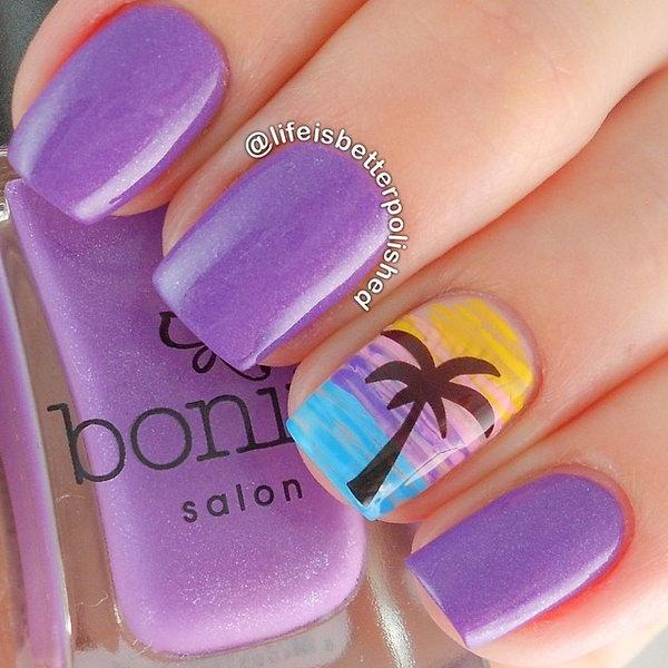 Purple Beach Nail Art Design - 30+ Beach Themed Nail Art Designs