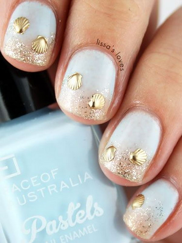 30 beach themed nail art designs blue beaches with golden shells manic prinsesfo Choice Image