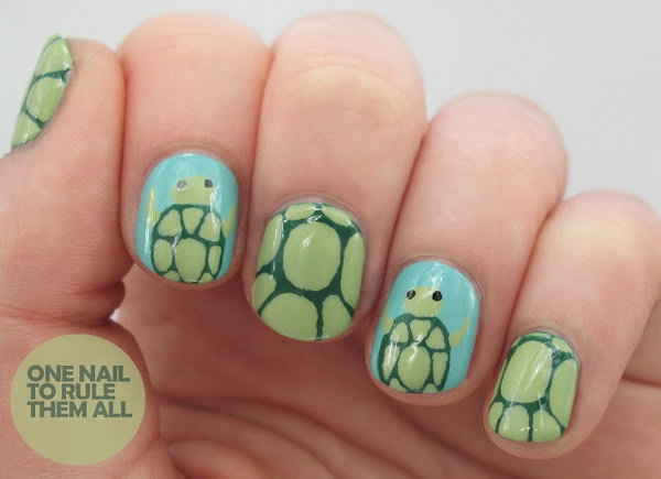 Cute Turtle Nail Art - 30+ Beach Themed Nail Art Designs