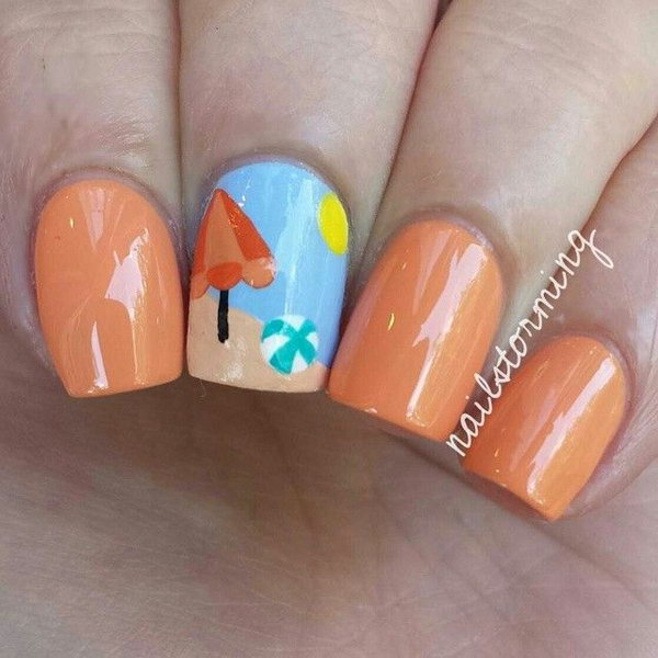 Orange and Light Blue Beach Nails with Ball and Beach Umbrella - 30+ Beach Themed Nail Art Designs