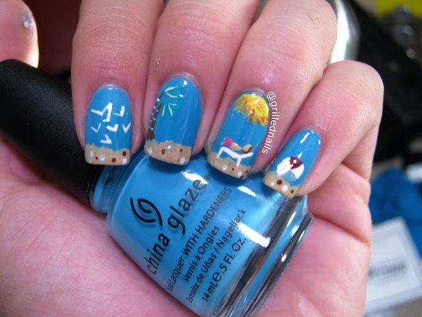 Blue Beach Nails.