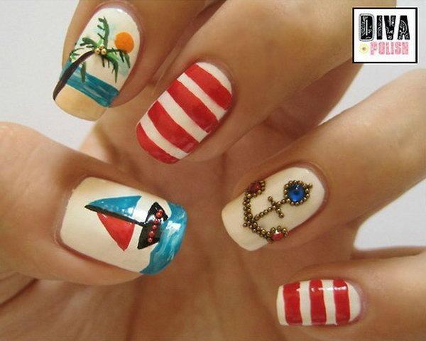 Playful Beachy Nail Art.