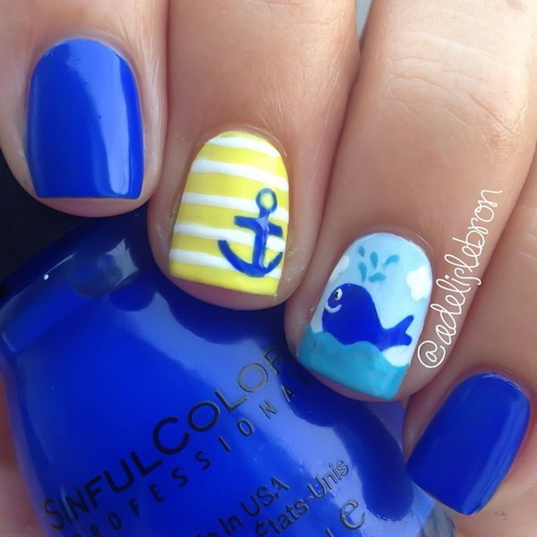 Cute Blue Whale Nail Design - 30+ Beach Themed Nail Art Designs
