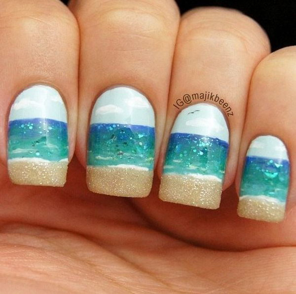 Simple Beach Nail Design with Sky, Ocean and Beach Together - 30+ Beach Themed Nail Art Designs