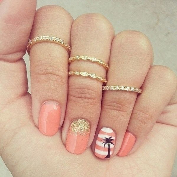 30 beach themed nail art designs pink and white striped beach nails with palm trees prinsesfo Choice Image