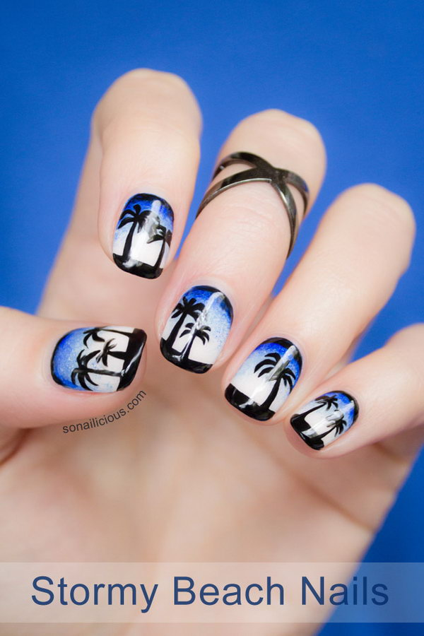 Stormy Beach Nail Art.