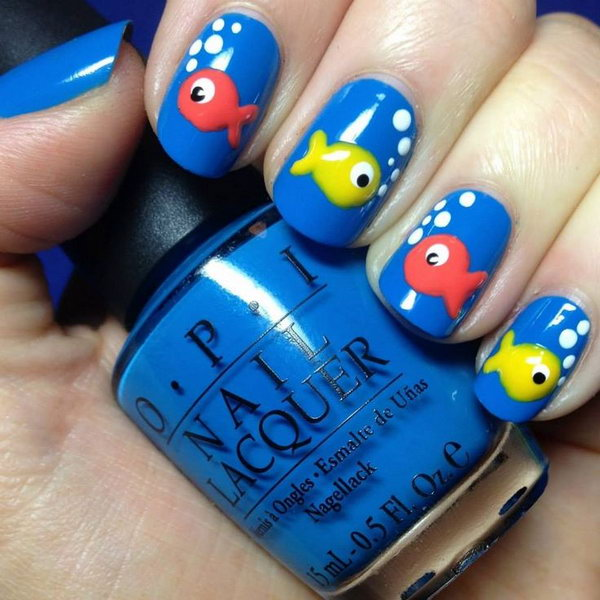 30 beach themed nail art designs beach nail design with colorful fishes prinsesfo Gallery