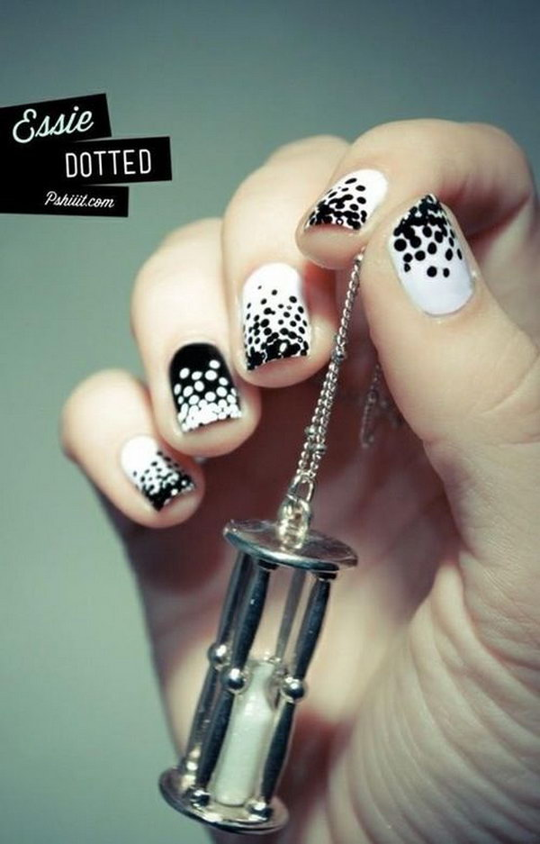 Cute Polka Dot Black and White Nail Designs - Black And White Nail Art Designs - Perfect Match For Any Parties