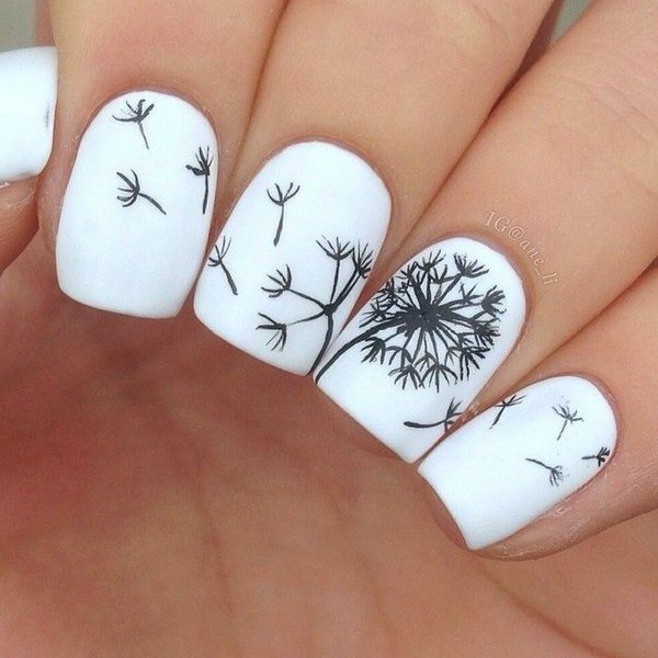 Black and White Dandelion Nail Art Designs.