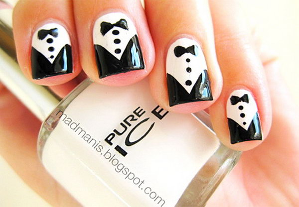 Cute and Tuxedo Nails.