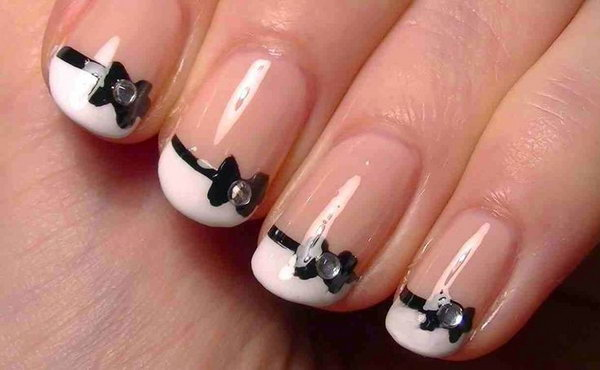 French Black White Bow Nail Art.