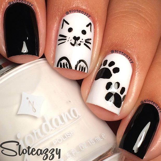 White Background and White Dots Nails.