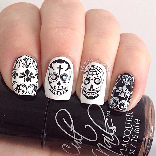 Black and White Stamped Sugar Skull Nails.