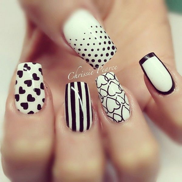 Beautiful Black and White Heart Nails.