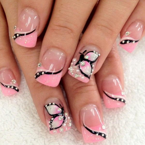 Light Pink Butterfly Nail Design.