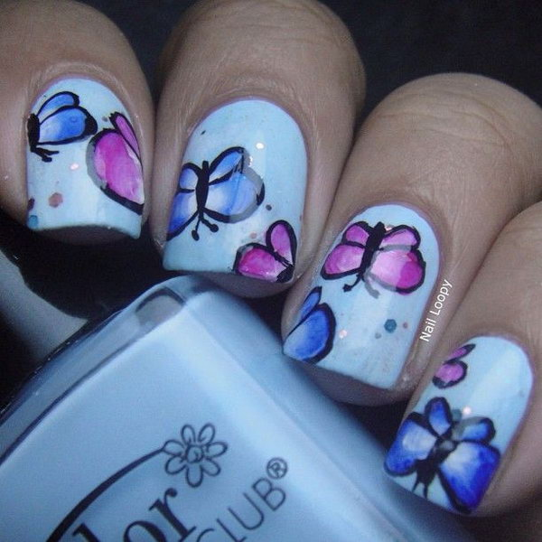 Super Cute White Nails with Little Pink and Purple Butterflies.