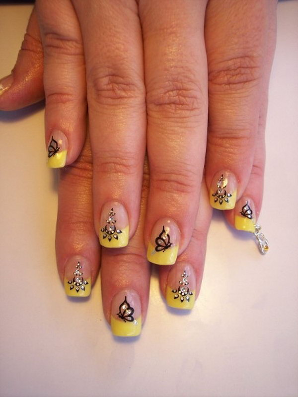 Butterflies Nail Art Design in Yellow Theme.