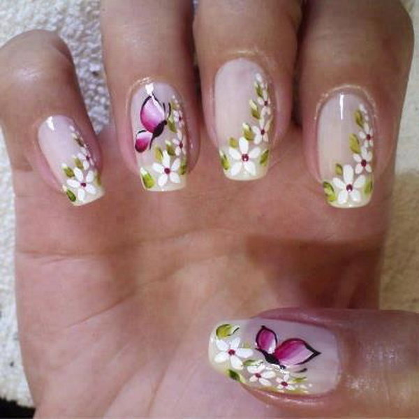 Butterfly Nail Design With Flowers.
