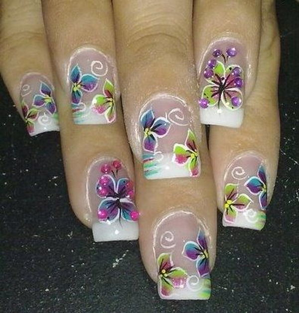 Butterfly Nail Design for Clear Nails.