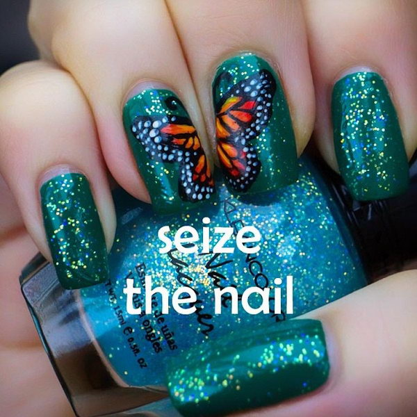 Green Glitter Butterfly Nails.