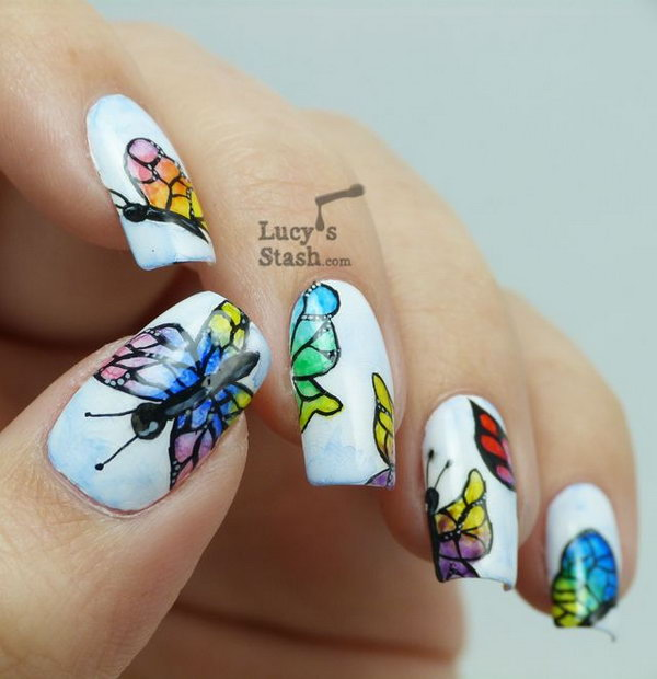 Watercolour Butterflies Nail Art.