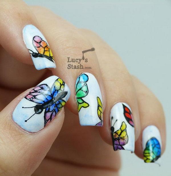 Watercolour Butterflies Nail Art.