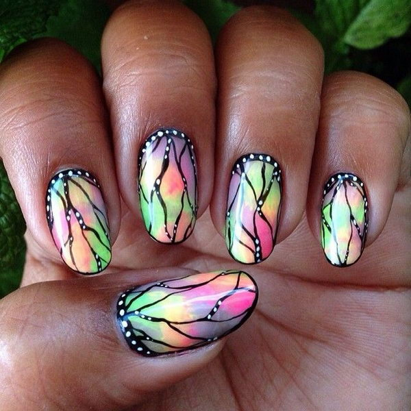 Stained Glass Butterfly Nails.