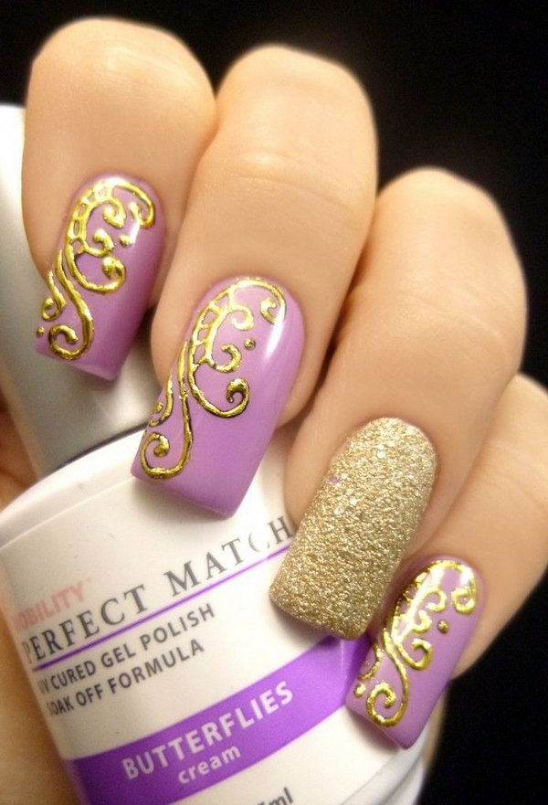 Gold and Purple Butterfly Nail Design .