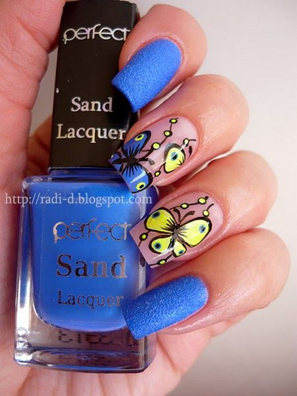 Blue and Yellow Neon  Butterfly Nails.