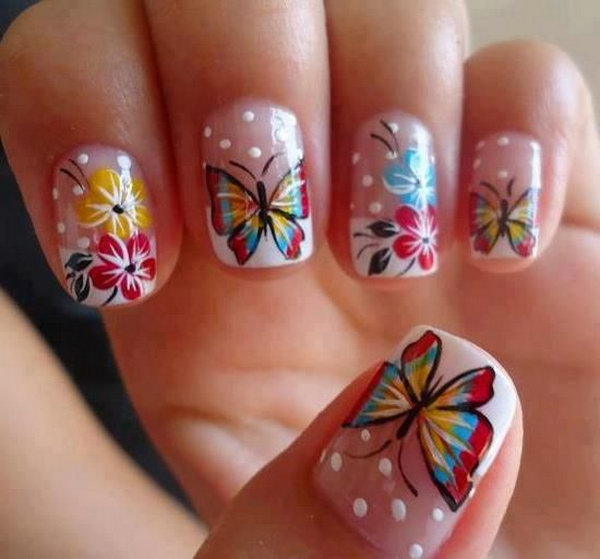 Beautiful Butterfly Nails with Flowers.