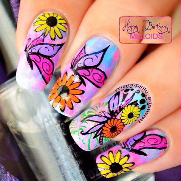 Bright Color Butterfly and Flower Nail Art Design.