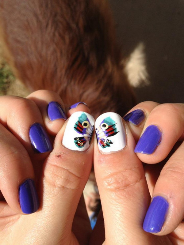 Beautiful Blue Butterfly Nail Design.