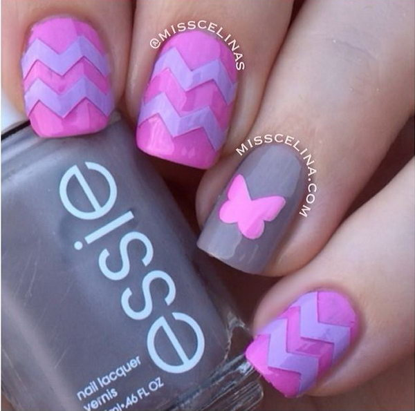 Chevrons & Butterfly Nail Art Designs.