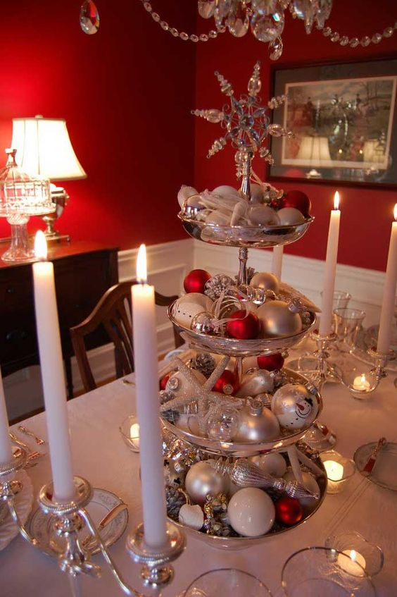 Make Tiered Centrepiece for Christmas Using Silver Tiered Dessert Stand Filled with Ornaments and Jingle Bells.