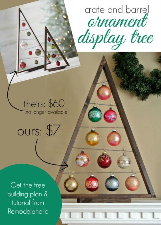 DIY Crate and Barrel Ornament Display Tree .