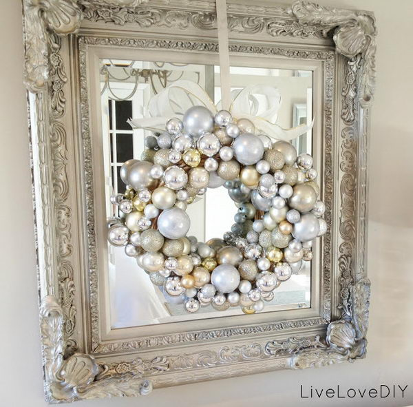 DIY White And Silver Christmas Ornament Wreath.