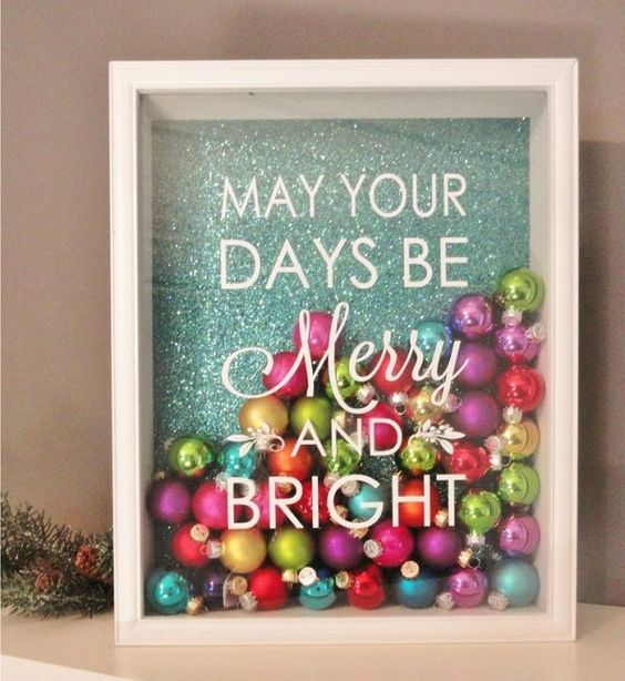 Decorate Shadow Box With Ornaments.