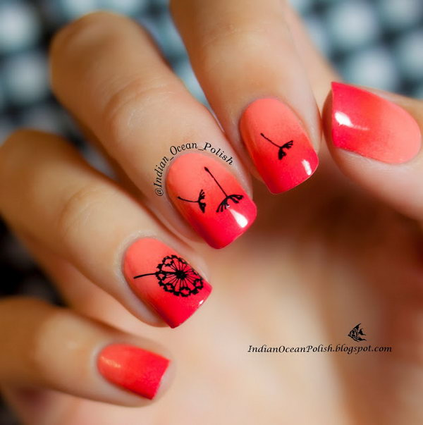 40 cute dandelion nail art designs and tutorials make a sunset nails with dandelions prinsesfo Choice Image